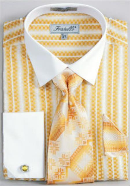 Fratello Jacquard Two Tone French Cuff Dress Shirt Set Mustard