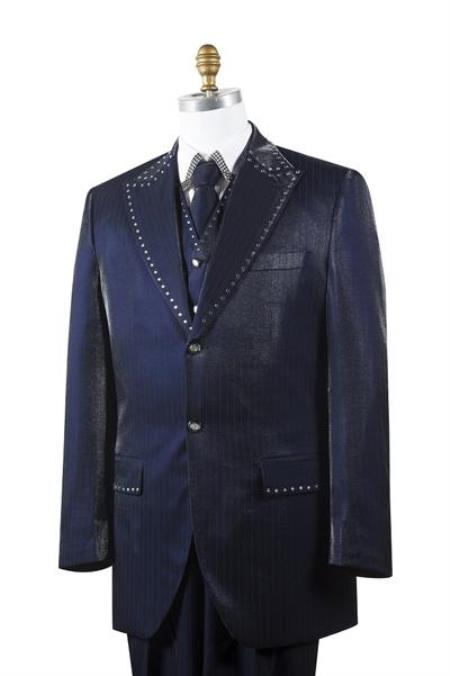 Navy Sharkskin Rhinestone 3 Piece Entertainer Athletic Cut Suits Classic Fit