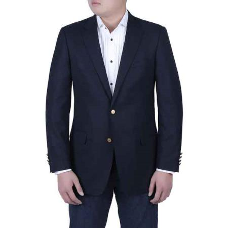 Navy Blue Shade Italian Style Blazer Online Sale with Brass Buttons Classic Fit