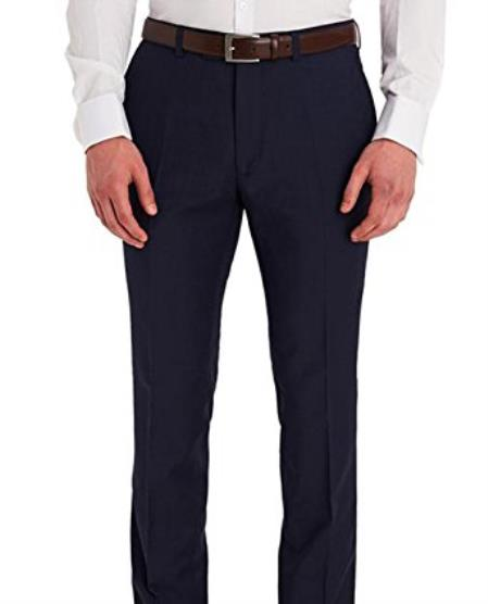 Product# JSM-4733 Braveman Men's Slim Fit Solid Navy Blue Flat Front Washable Dress Pants