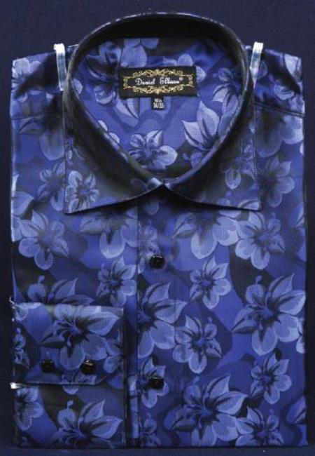 Product# AC-488 Fancy Polyester Dress Fashion Shirt With Button Cuff Navy Blue Shade