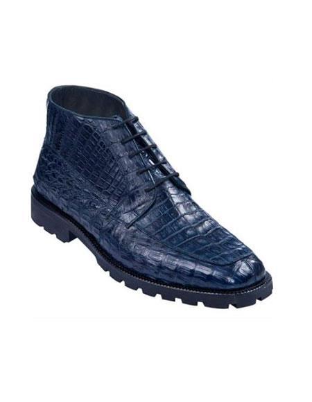 High Top Gator Skin Shoe Navy Blue Shade