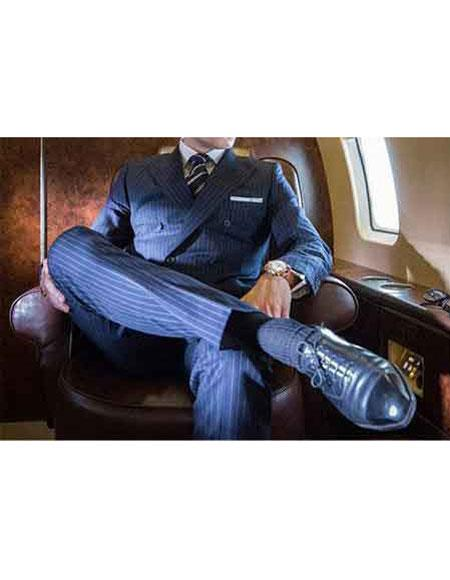 kingsman classic stripe Double Breasted Wool Navy Blue suit