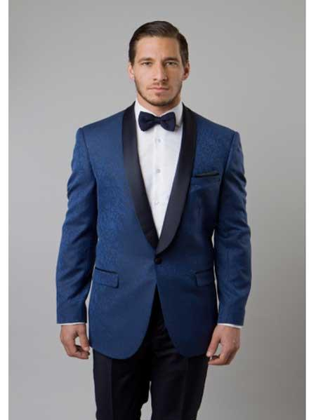 Navy Blue Shade Tuxedo Floral Satin Unique Shiny Fashion Prom Liquid Jet Black Lapel Two Toned Blazer Online Sale Dinner Jacket Paisley Sport Coat Sequin Shiny Flashy Silky Satin Stage Fancy Party Dance Stage Jacket