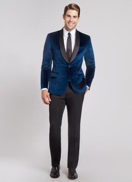 Men's Navy Blue Dinner Jacket Velvet tuxedo Black lapel Shawl Lapel