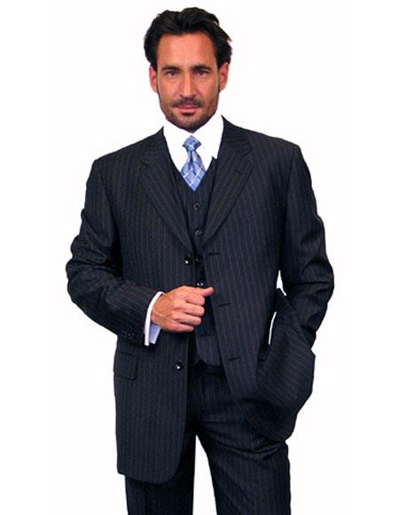 Product# JSM-4688 Alberto Nardoni 3 Button Vested Suits 100% Wool Suits Vested Navy Blue Stripe ~ Pinstripe Pleated Pants