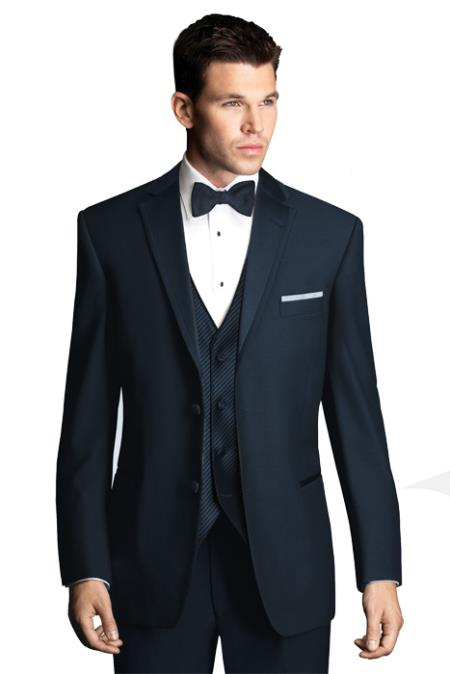 Product Pn V91 Midnight Navy Blue Shade Wedding Tuxedo With Satin Framed Lapel