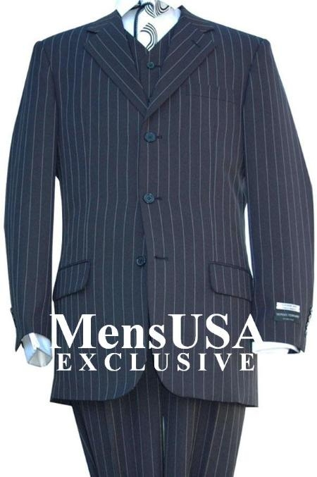 Product# V3RS-8 Highest Quality Jet Liquid Navy Blue Shade & Chalk pronounce visible White Pinstripe Vested Dress three piece suit Superior Fabric 120s Superior Fabric fine Wool Fabric feel poly~rayon