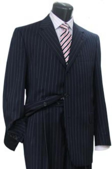 Navy Blue Shade Pinstripe premier quality italian fabric 3 Buttons Style Dress Suit 