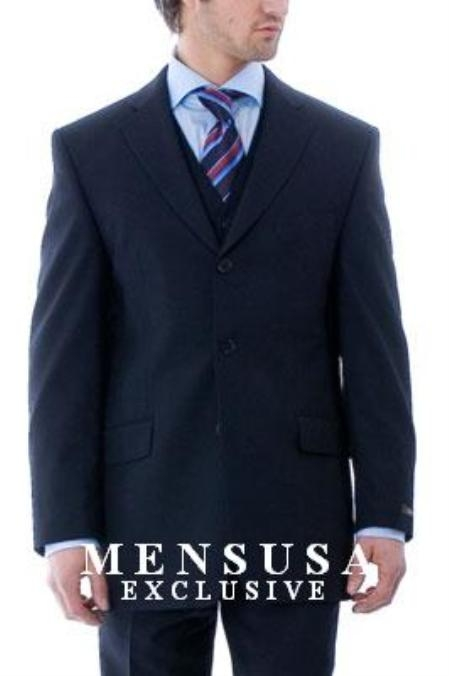 Simple & Classy Stunning Navy Blue Shade Jacket + Pants + Vest Vested Suits for Online in Superior Fabric 150's Wool Fabric