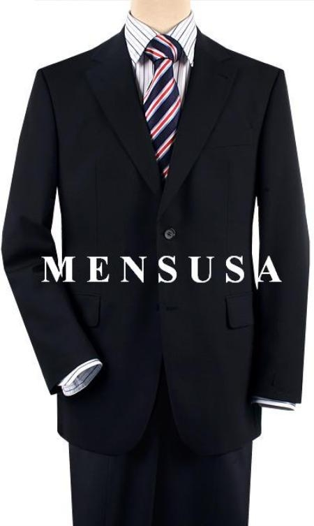 Designer Solid Navy Blue Shade Comes in 2 or 3 Button Style Wool Fabric Suit Pleated Slacks or Flat Front Pants