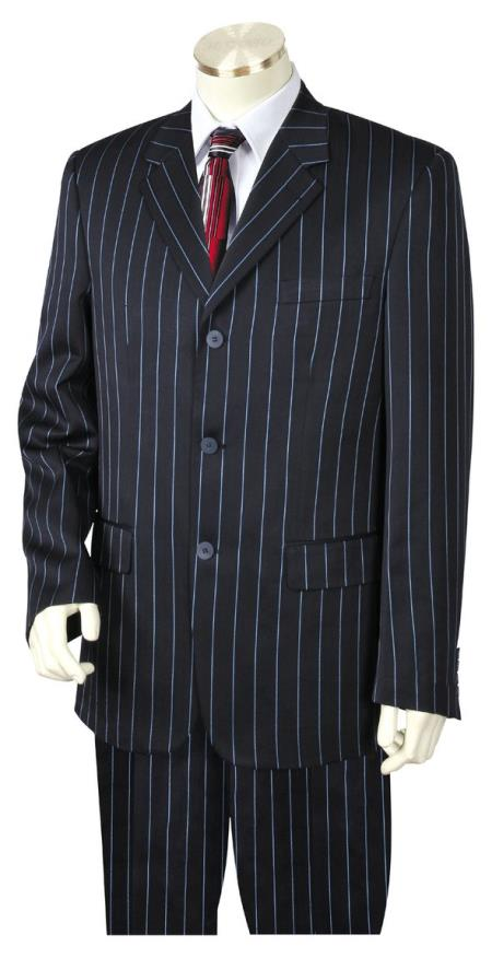 men's Reflective Razor Stripe Notch Lapel Flap Pocket Navy Blue Zoot Suit