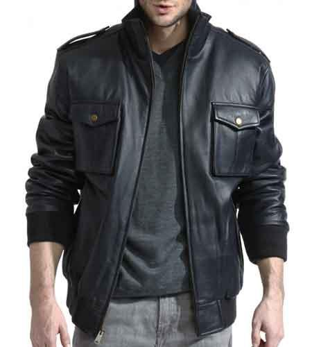 Product# JSM-812 Men's Navy Lambskin Leather Military Bomber With Knit Trim Jacket Available in Big and Tall Sizes