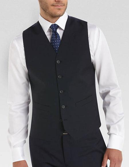 men's Any Color Matching Vest & Pants Set Plus Any Color Shirt & Tie Or Bow Tie Set Package Navy
