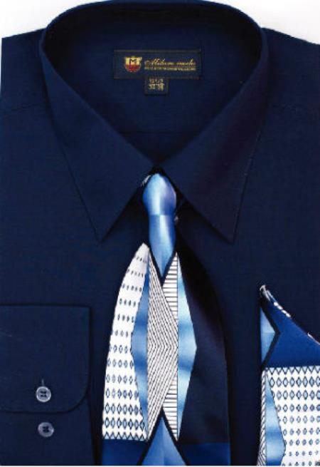 Product# SW911 Milano Moda Classic Cotton Dress Shirt with Ties and Handkerchiefs Navy