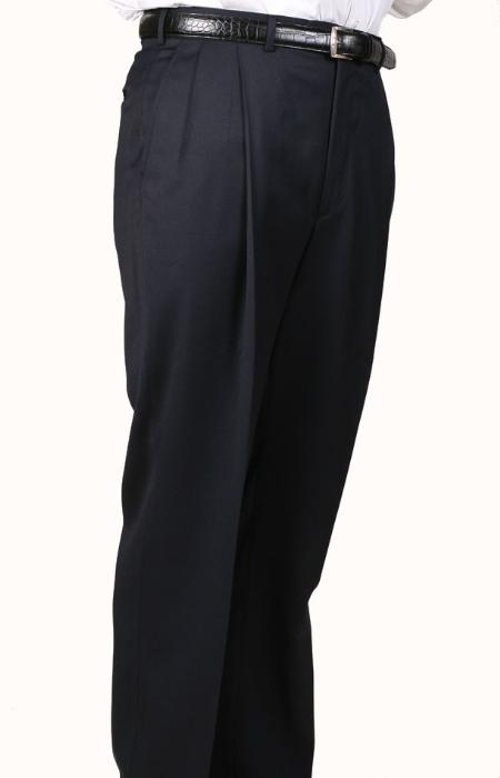 Navy Somerset Double-Pleated Slacks