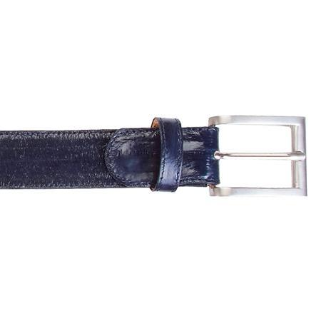 Navy Genuine Eel Belt