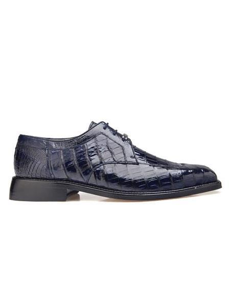 Product# EK17 Belvedere Men's  Genuine Crocodile Navy Leather Lining Shoes