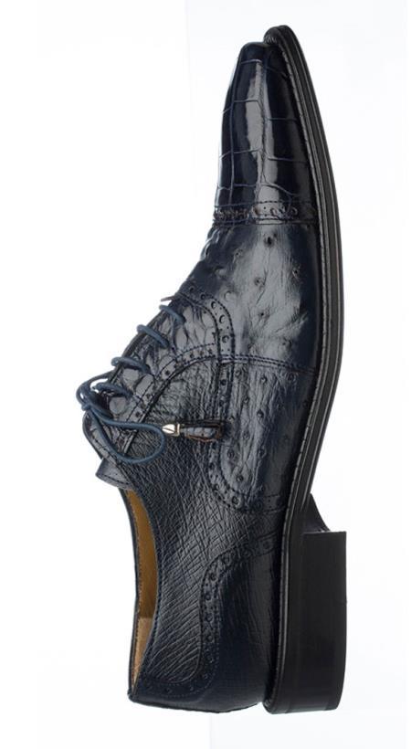 Product# JSM-1632 Men's Ferrini Navy Leather Sole Alligator & Ostrich Quill Cap Toe Tasseled Laces Shoes