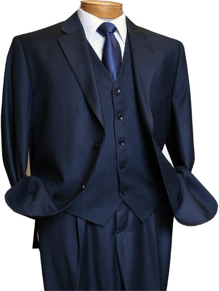 Product# NAVY527 3 Piece Navy Pinstripe Italian Design Athletic Cut Suits Classic Fit