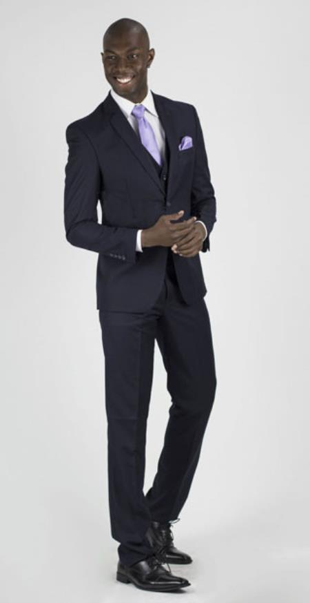 RM1626 Navy Slim narrow Style Fit Center Vent Suit