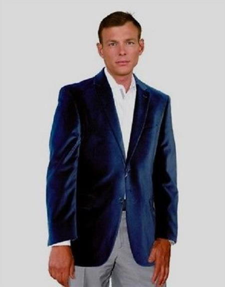 Product# PN-E46 Velour Velvet Blazer Online Sale Sport Jacket For Navy