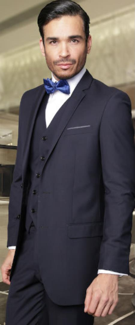 Product# SW936 2-Button Vested Jacket + Pants + Vest 3PC Slim narrow Style Fitted Cut Skinny Lapel Wool Fabric Suit Navy