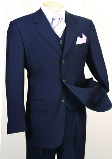 Product# MF1902 Fashion three piece suit in Superior Fabric 150's Luxurious Wool Fabric Feel Navy