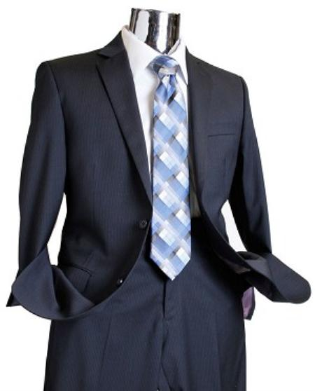 Navy Tone on Tone 100% Wool Fabric Suit Navy