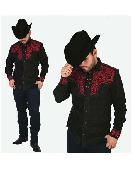 Product# WD-27044 Men's Negro High Collar Long Sleeves Floral Pattern Shirt