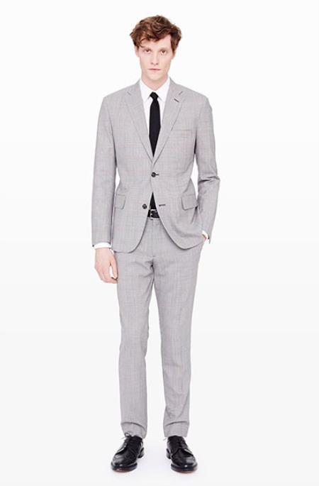 Mens Grey Suit White