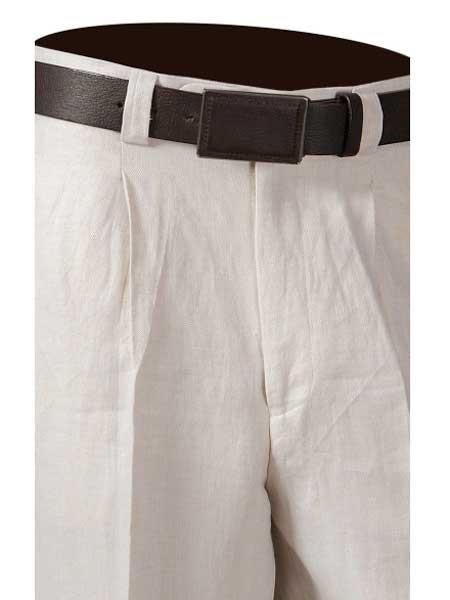 Product# SM849 One Pleat Off White 100% Linen Pants