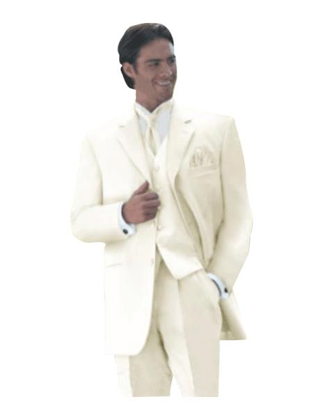 Product# T633 Umo Collection OFF White 3 Piece Vested Superior Fabric Extra Fine Smooth Fabric Suits for Online