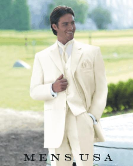 White 3 Piece 2 Button Style Vested Light Weight Fine Soft Wedding Suit