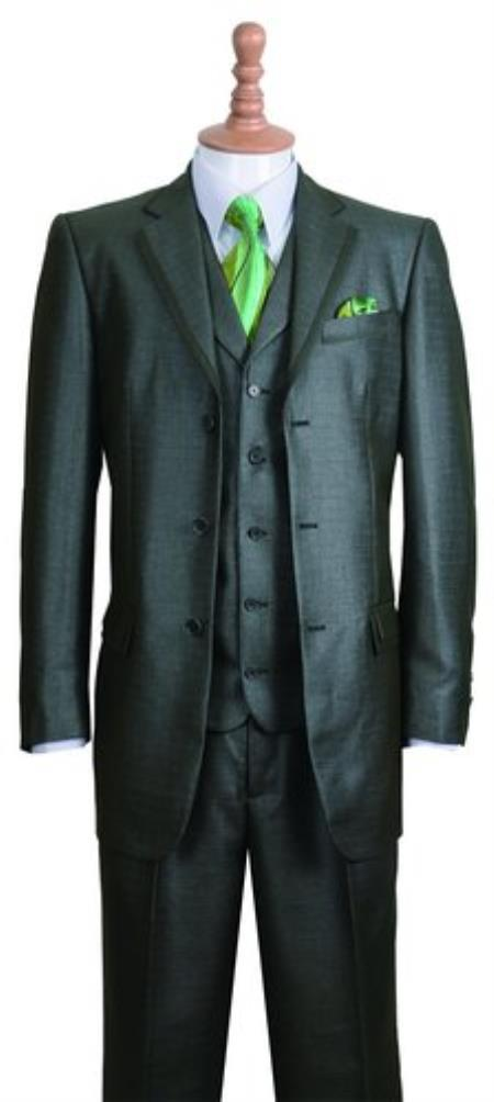 Product# SS-63 Olive Fashion Suit For sale ~ Pachuco Mens Suit Perfect for Wedding Edged 3 Button Style Notch Lapel Jacket w/ Pants Vest Set