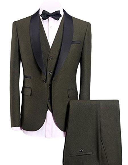 Men's Olive Green 3-Pieces Slim Fit Shawl Lapel 1 Button Vested Dress Suit for Men