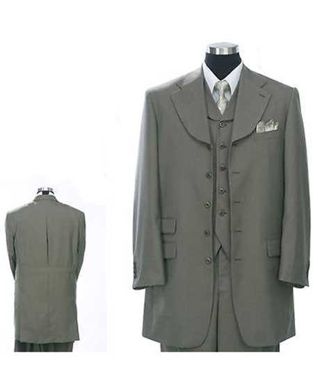 Product# JSM-1077 Men's 1920s 40s Fashion Clothing Look ! Olive Green 5 Buttons Vested Fashion Zoot Suit For sale ~ Pachuco Mens Suit Perfect for Wedding for Men Wide Leg Pants (steve harvey looking)