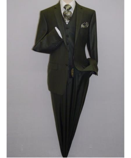 JSM-1217 Men's Vitali Vested Shiny Sharkskin Pleated Olive Green 3 Piece Suit