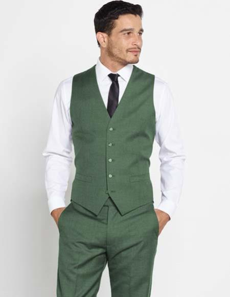 Product# JSM-2440 Men's Groomsmen Attire Outfit Vest + Matching Solid Dress Pants Set + Any Color Olive Green Shirt & Tie