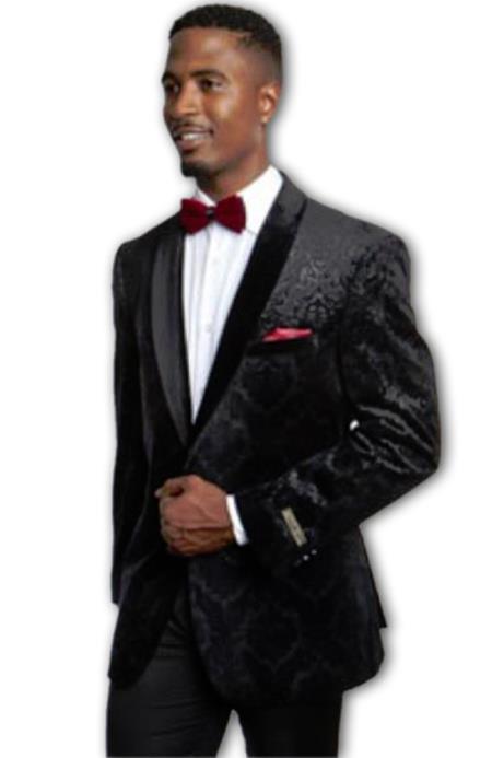 Men's Fashion Velvet Black Sport Coat
