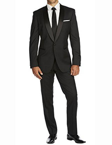 Product# JSM-1321 Men's 1 Button Authentic Braveman Slim Fit Solid Black Side Vents Tuxedo Suit With Shawl Lapel