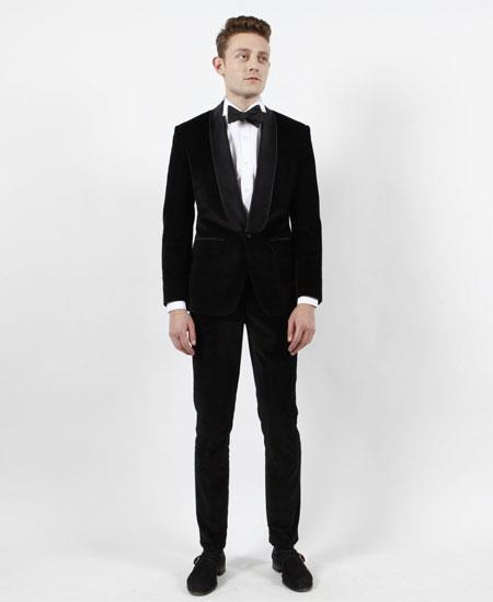 Product# GD1826 Men's Single Breasted 1 Button Black Velvet Shawl Lapel Tuxedo