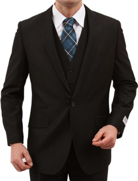 Product# KX7806 One Button Slim narrow Style Fit Liquid Jet Black Suit Clearance Sale Online