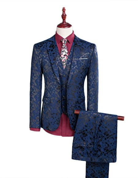 men's Floral Designed Black Notch Lapel Burgundy~Black tuxedo dinner jacket Clearance Sale Online