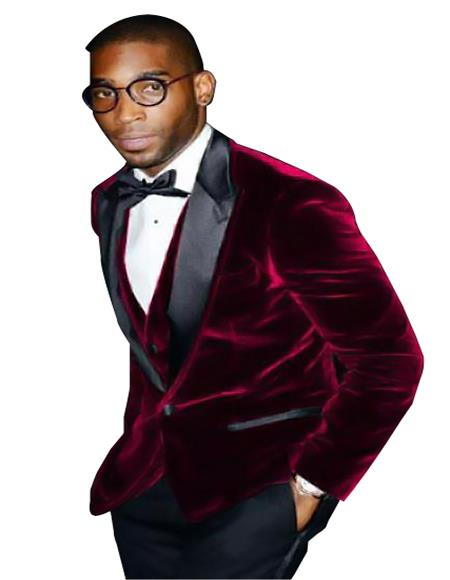 Product# SM5207 Men's Burgundy Big And Tall Blazers Cheap Velvet ~ Velour Clearance Blazer / Sport Coat