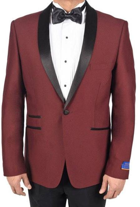 men's Burgundy 1 Button Single Breasted Tuxedo Solid Pattern Viscose Blend Dinner Jacket Burgundy Tuxedo