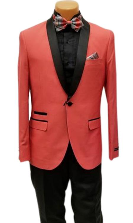 men's One Button Shawl Lapel Coral Prom Wedding Tuxedo Clearance Sale Online