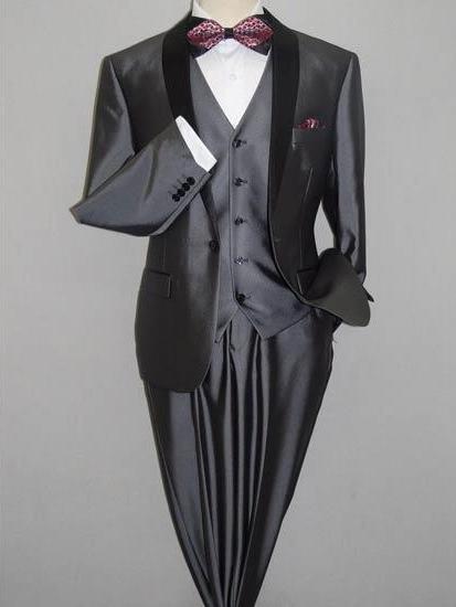 Men's Gray Black Shawl Tuxedo Slim Fitted 3 Piece Two Toned Shiny Flashy Sharkskin Suit