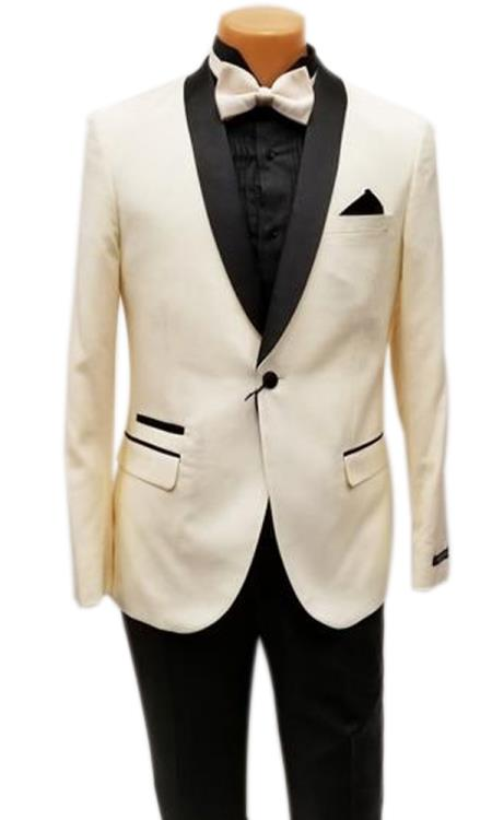 Product# JS378 Mens One Button Shawl Lapel Ivory Prom Wedding Tuxedo Clearance Sale Online