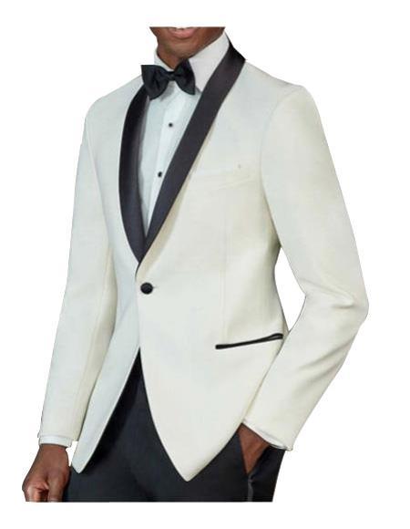 men's One Button Tuxedo Shawl Black Lapel classy Ivory Suit